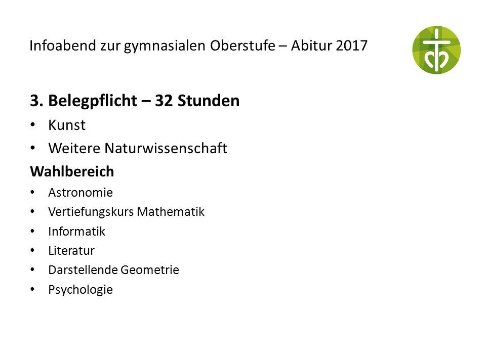 Infoabend zur gymnasialen Oberstufe – Abitur 2017 3. Belegpflicht – 32 Stunden Kunst Weitere Naturwissenschaft Wahlbereich Astronomie Vertiefungskurs
