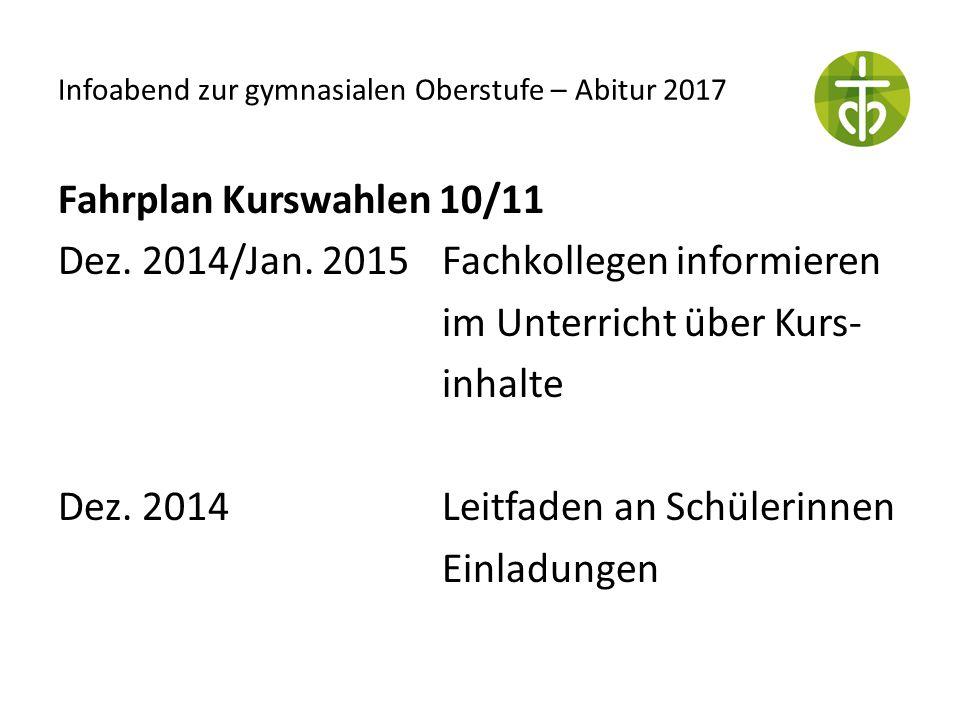 Fahrplan Kurswahlen 10/11 Dez. 2014/Jan. 2015Fachkollegen informieren im Unterricht über Kurs- inhalte Dez. 2014Leitfaden an Schülerinnen Einladungen