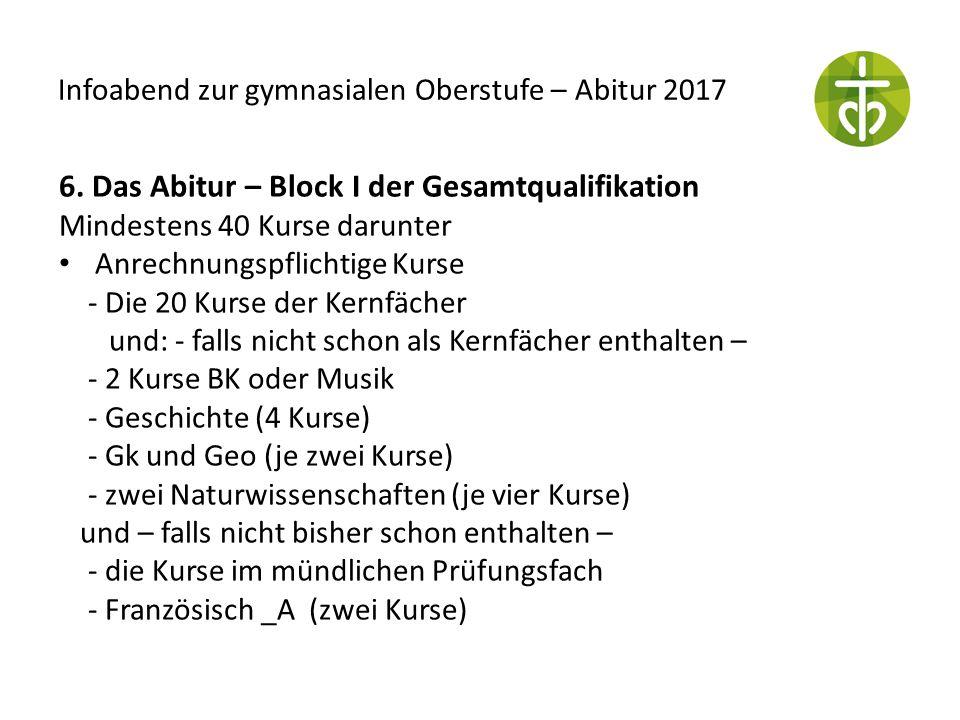 Infoabend zur gymnasialen Oberstufe – Abitur 2017 6. Das Abitur – Block I der Gesamtqualifikation Mindestens 40 Kurse darunter Anrechnungspflichtige K