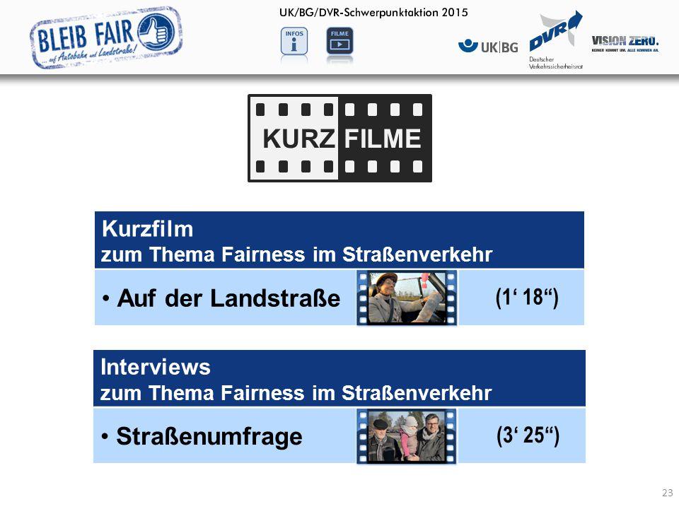 "23 KURZFILME 23 Interviews zum Thema Fairness im Straßenverkehr Straßenumfrage (3' 25"") Kurzfilm zum Thema Fairness im Straßenverkehr Auf der Landstra"
