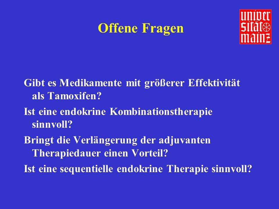 ATAC Einschränkungen der Studie Kurze Nachbeobachtungszeit Steigerung des Tamoxifeneffekts mit längerer (bis 5 Jahre) Therapiedauer Carry-over Effekt von Tamoxifen (33% Risikoreduktion nach Therapieende) Gesteigerte Osteoporose und Frakturrate unter Anastrozol Ravdin, Lancet 359: 2126-2127, 2002