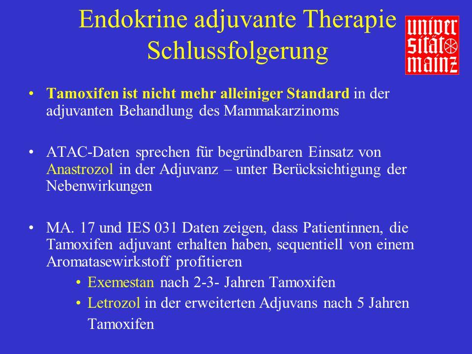 Endokrine adjuvante Therapie Schlussfolgerung Tamoxifen ist nicht mehr alleiniger Standard in der adjuvanten Behandlung des Mammakarzinoms ATAC-Daten