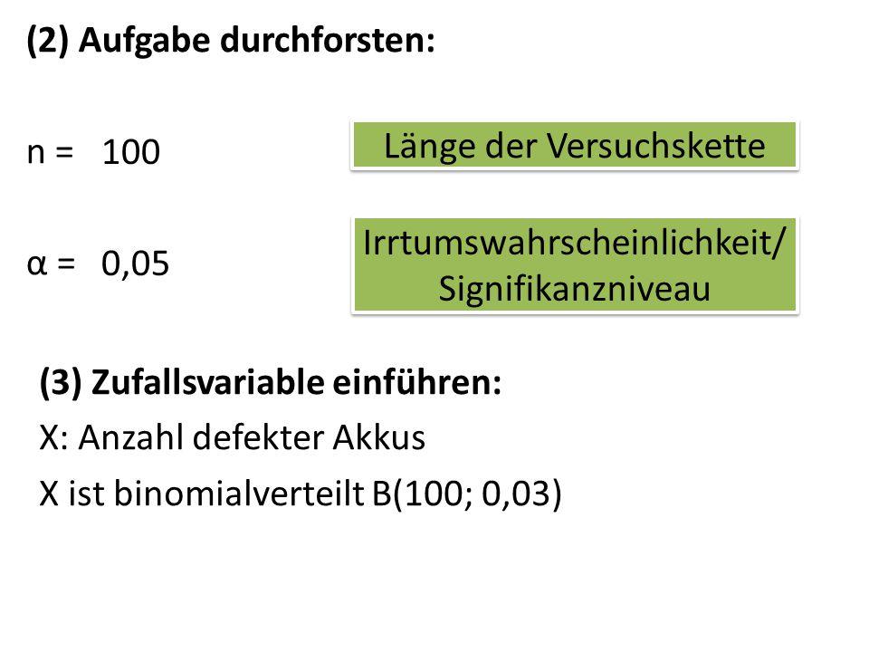 (4) Übersicht: Nullhypothese nicht glaubhaftglaubhaft ablehnenannehmen 1000kk + 1 Linksseitiger Test Zur Erinnerung: Kleine Werte (wenige defekte Akkus) lassen an der Nullhypothese zweifeln
