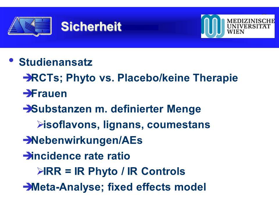 Studienansatz  RCTs; Phyto vs. Placebo/keine Therapie  Frauen  Substanzen m.