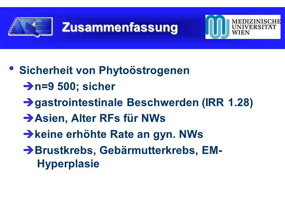 Sicherheit von Phytoöstrogenen  n=9 500; sicher  gastrointestinale Beschwerden (IRR 1.28)  Asien, Alter RFs für NWs  keine erhöhte Rate an gyn.
