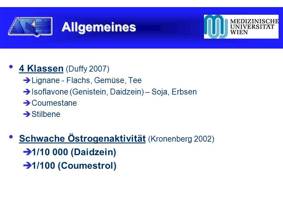 4 Klassen (Duffy 2007)  Lignane - Flachs, Gemüse, Tee  Isoflavone (Genistein, Daidzein) – Soja, Erbsen  Coumestane  Stilbene Schwache Östrogenaktivität (Kronenberg 2002)  1/10 000 (Daidzein)  1/100 (Coumestrol) Allgemeines