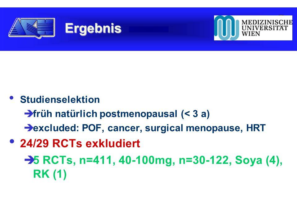 Studienselektion  früh natürlich postmenopausal (< 3 a)  excluded: POF, cancer, surgical menopause, HRT 24/29 RCTs exkludiert  5 RCTs, n=411, 40-100mg, n=30-122, Soya (4), RK (1) Ergebnis