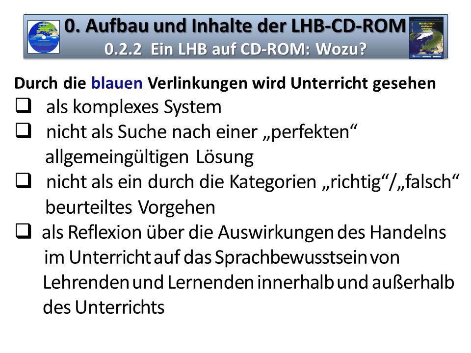 0. Aufbau und Inhalte der LHB-CD-ROM 0.2.2 Ein LHB auf CD-ROM: Wozu? Durch die blauen Verlinkungen wird Unterricht gesehen  als komplexes System  ni