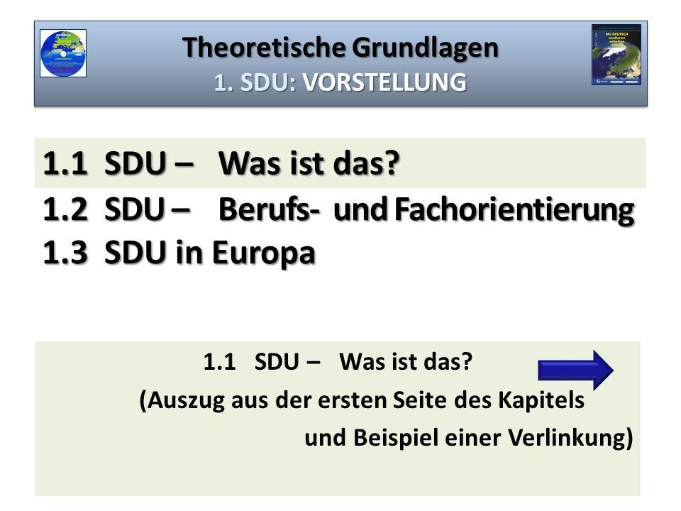 Theoretische Grundlagen 1. SDU: VORSTELLUNG 1.2 SDU – Berufs- und Fachorientierung 1.3 SDU in Europa 1.1 SDU – Was ist das? (Auszug aus der ersten Sei