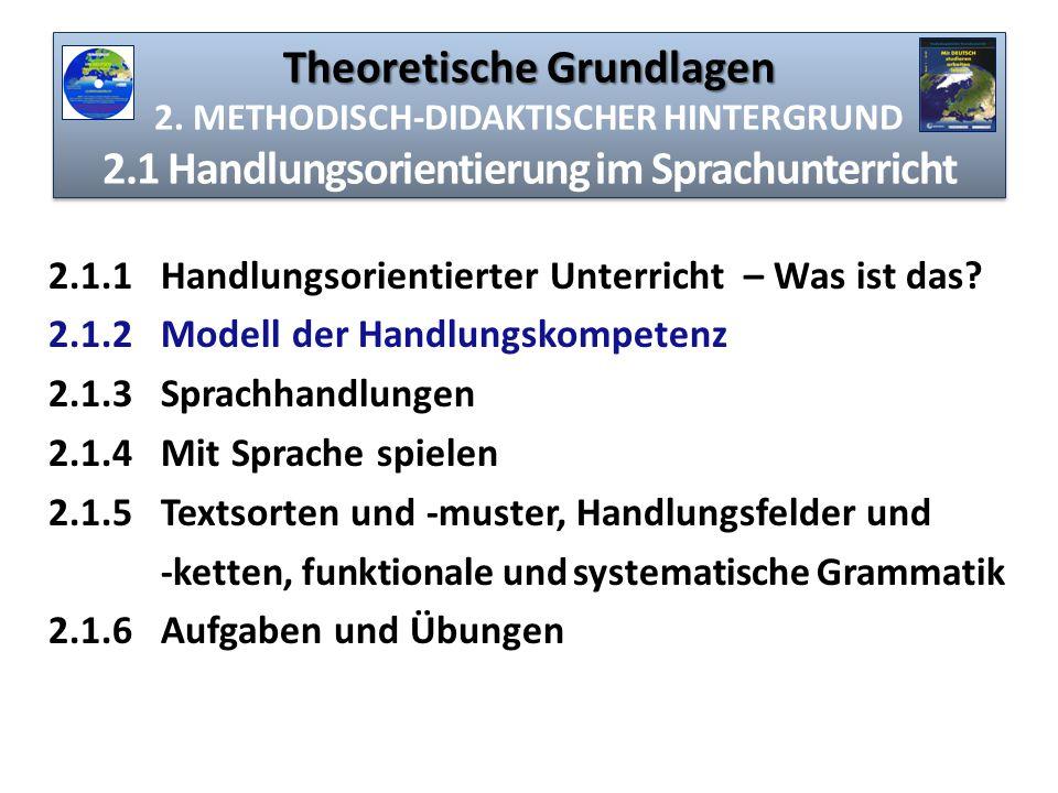 Theoretische Grundlagen Theoretische Grundlagen 2. METHODISCH-DIDAKTISCHER HINTERGRUND 2.1 Handlungsorientierung im Sprachunterricht 2.1.1 Handlungsor