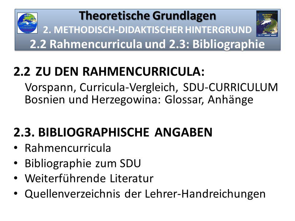 Theoretische Grundlagen Theoretische Grundlagen 2. METHODISCH-DIDAKTISCHER HINTERGRUND 2.2 Rahmencurricula und 2.3: Bibliographie 2.2 ZU DEN RAHMENCUR
