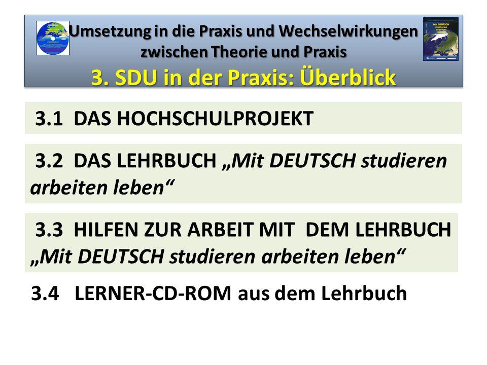 Umsetzung in die Praxis und Wechselwirkungen zwischen Theorie und Praxis 3. SDU in der Praxis: Überblick 3.4 LERNER-CD-ROM aus dem Lehrbuch 3.1 DAS HO