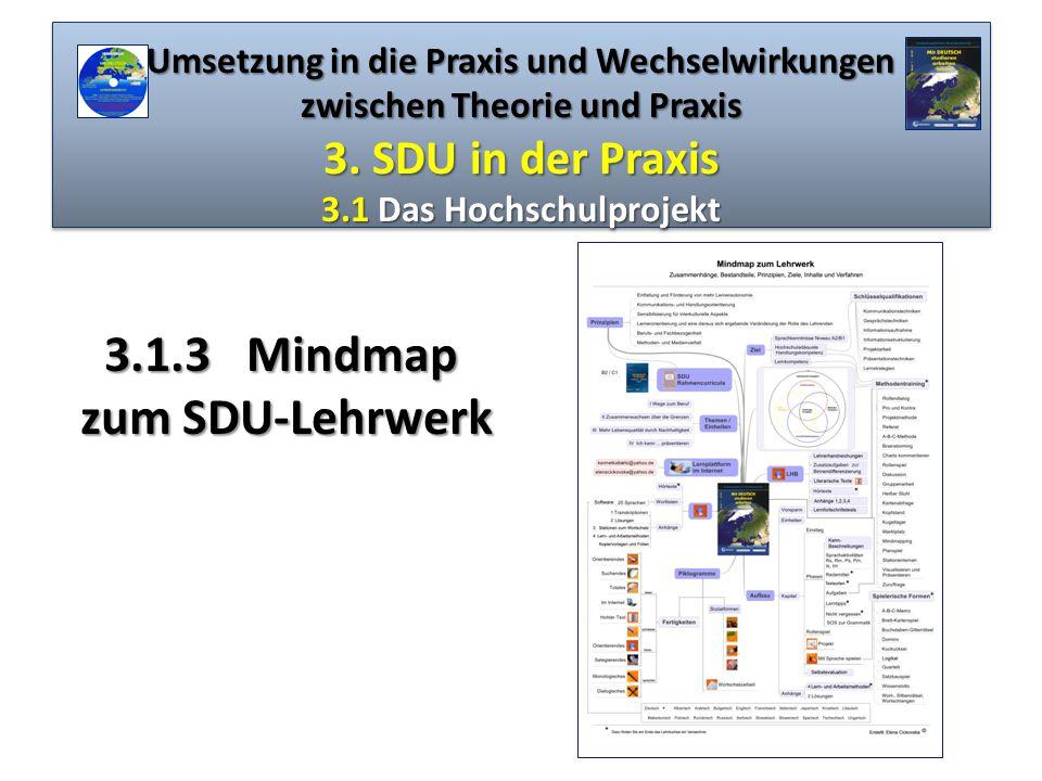 Umsetzung in die Praxis und Wechselwirkungen zwischen Theorie und Praxis 3. SDU in der Praxis 3.1 Das Hochschulprojekt 3.1.3Mindmap 3.1.3 Mindmap zum