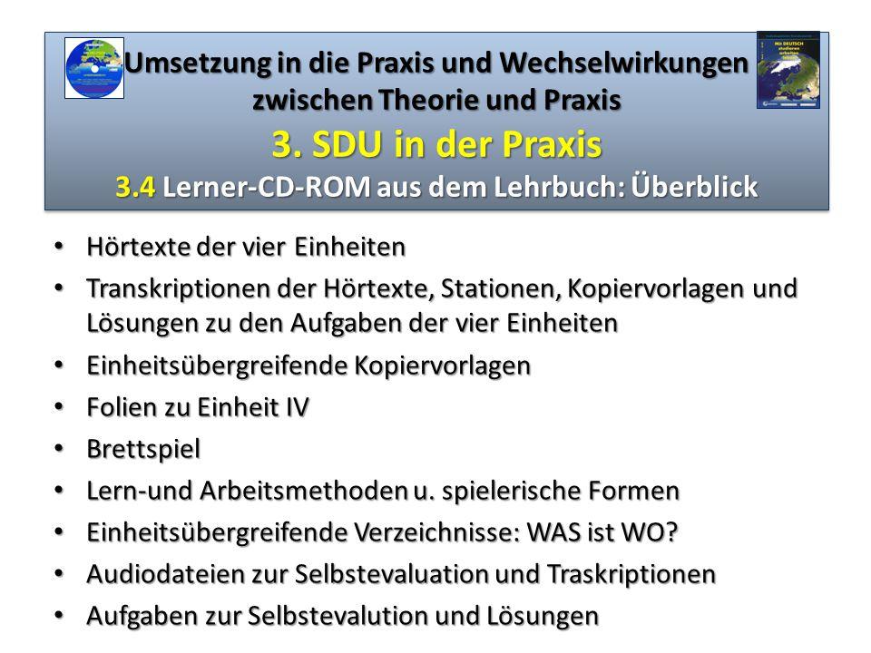 Umsetzung in die Praxis und Wechselwirkungen zwischen Theorie und Praxis 3. SDU in der Praxis 3.4 Lerner-CD-ROM aus dem Lehrbuch: Überblick Hörtexte d