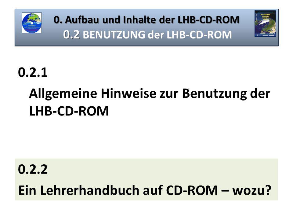 0. Aufbau und Inhalte der LHB-CD-ROM 0.2 0. Aufbau und Inhalte der LHB-CD-ROM 0.2 BENUTZUNG der LHB-CD-ROM 0.2.1 Allgemeine Hinweise zur Benutzung der