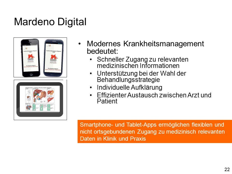 22 Mardeno Digital Modernes Krankheitsmanagement bedeutet: Schneller Zugang zu relevanten medizinischen Informationen Unterstützung bei der Wahl der Behandlungsstrategie Individuelle Aufklärung Effizienter Austausch zwischen Arzt und Patient Smartphone- und Tablet-Apps ermöglichen flexiblen und nicht ortsgebundenen Zugang zu medizinisch relevanten Daten in Klinik und Praxis