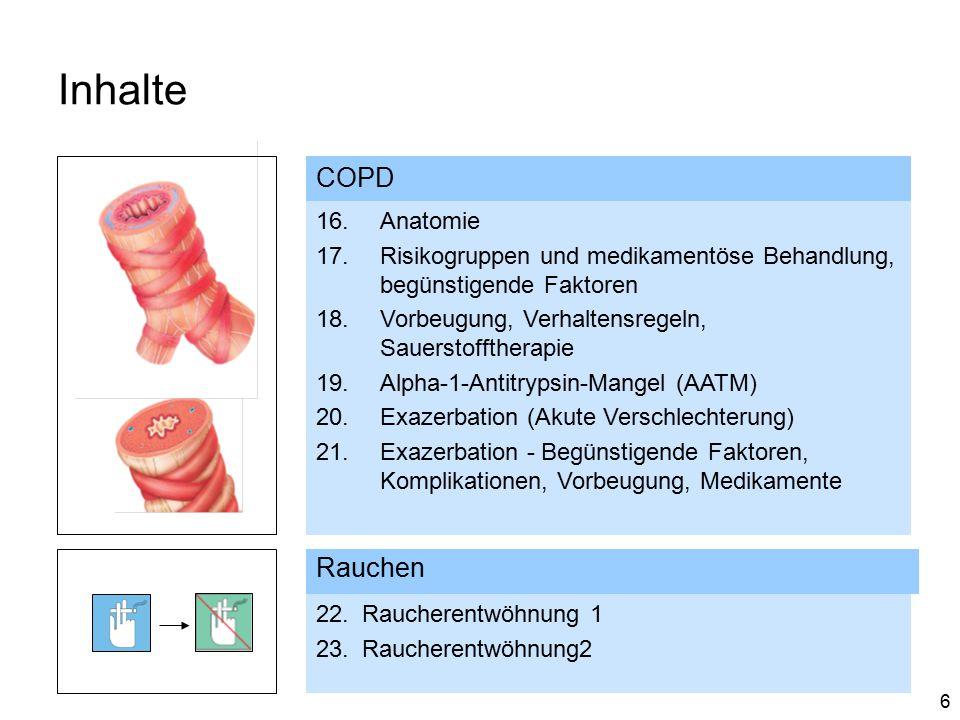 6 Inhalte Rauchen COPD 16.Anatomie 17.Risikogruppen und medikamentöse Behandlung, begünstigende Faktoren 18.Vorbeugung, Verhaltensregeln, Sauerstofftherapie 19.Alpha-1-Antitrypsin-Mangel (AATM) 20.Exazerbation (Akute Verschlechterung) 21.Exazerbation - Begünstigende Faktoren, Komplikationen, Vorbeugung, Medikamente 22.Raucherentwöhnung 1 23.Raucherentwöhnung2