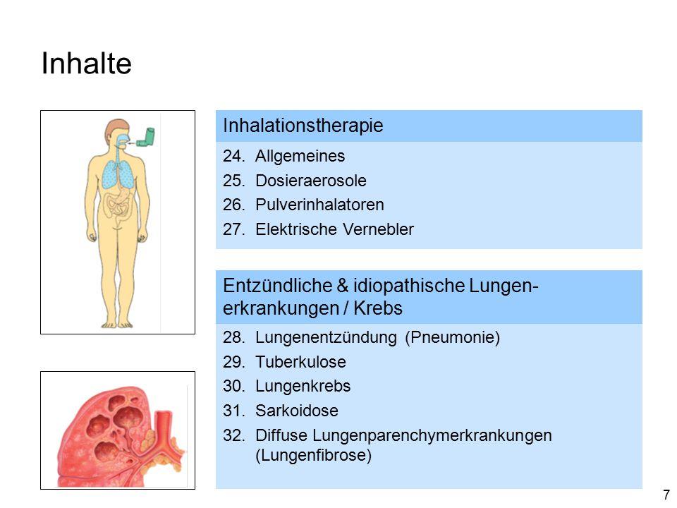 7 Inhalte Inhalationstherapie 24.Allgemeines 25.Dosieraerosole 26.Pulverinhalatoren 27.Elektrische Vernebler Entzündliche & idiopathische Lungen- erkrankungen / Krebs 28.Lungenentzündung (Pneumonie) 29.Tuberkulose 30.Lungenkrebs 31.Sarkoidose 32.Diffuse Lungenparenchymerkrankungen (Lungenfibrose)