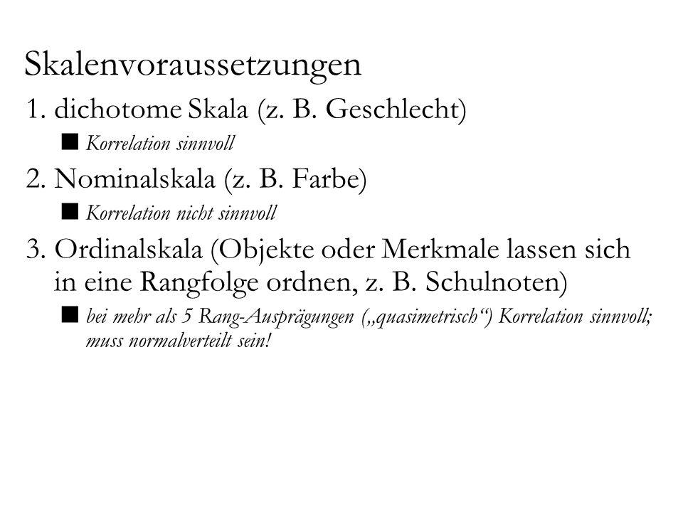 Skalenvoraussetzungen 1.dichotome Skala (z. B. Geschlecht) Korrelation sinnvoll 2.Nominalskala (z. B. Farbe) Korrelation nicht sinnvoll 3.Ordinalskala