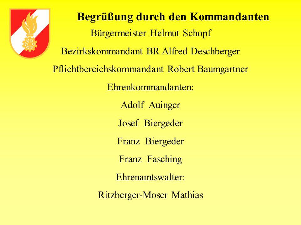 Begrüßung durch den Kommandanten Bürgermeister Helmut Schopf Bezirkskommandant BR Alfred Deschberger Pflichtbereichskommandant Robert Baumgartner Ehre