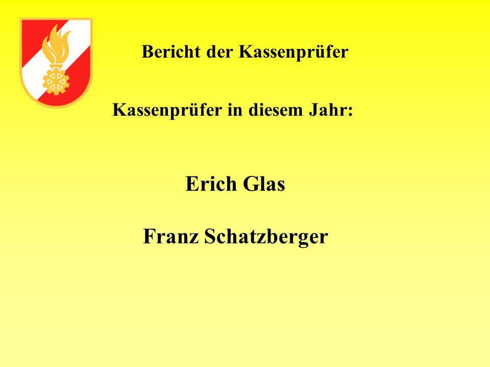 Bericht der Kassenprüfer Kassenprüfer in diesem Jahr: Erich Glas Franz Schatzberger