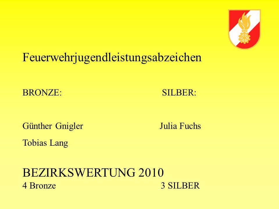 Feuerwehrjugendleistungsabzeichen BRONZE:SILBER: Günther Gnigler Julia Fuchs Tobias Lang BEZIRKSWERTUNG 2010 4 Bronze 3 SILBER