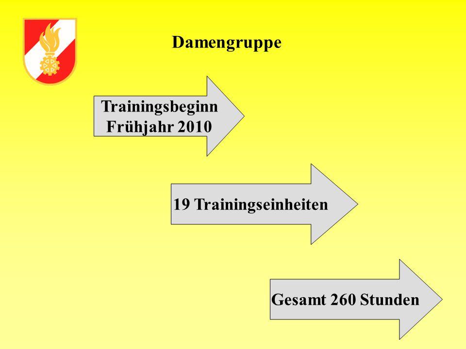 Damengruppe Trainingsbeginn Frühjahr 2010 19 Trainingseinheiten Gesamt 260 Stunden