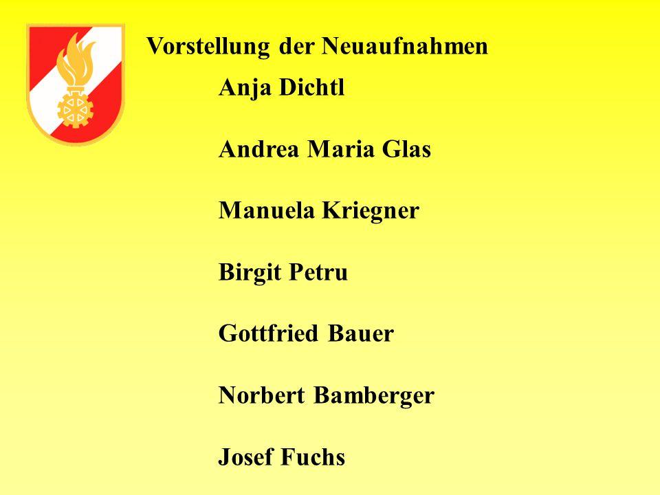Vorstellung der Neuaufnahmen Anja Dichtl Andrea Maria Glas Manuela Kriegner Birgit Petru Gottfried Bauer Norbert Bamberger Josef Fuchs
