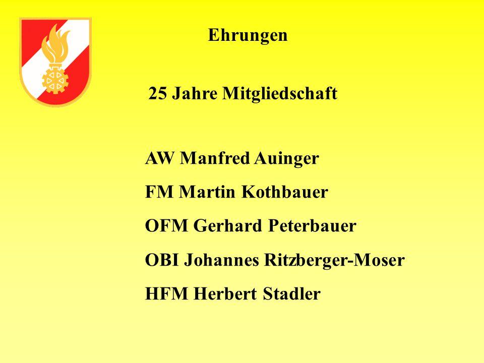 Ehrungen AW Manfred Auinger FM Martin Kothbauer OFM Gerhard Peterbauer OBI Johannes Ritzberger-Moser HFM Herbert Stadler 25 Jahre Mitgliedschaft