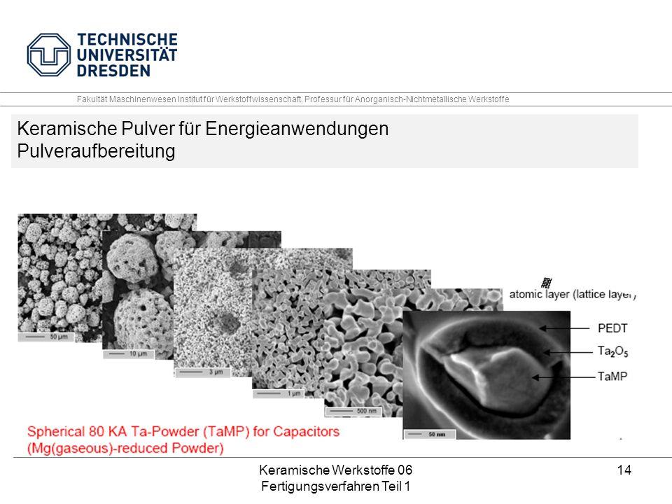 Keramische Werkstoffe 06 Fertigungsverfahren Teil 1 14 Fakultät Maschinenwesen Institut für Werkstoffwissenschaft, Professur für Anorganisch-Nichtmeta