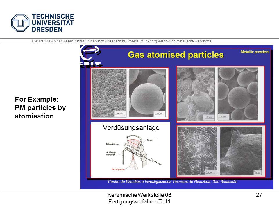 Keramische Werkstoffe 06 Fertigungsverfahren Teil 1 27 For Example: PM particles by atomisation Verdüsungsanlage Fakultät Maschinenwesen Institut für