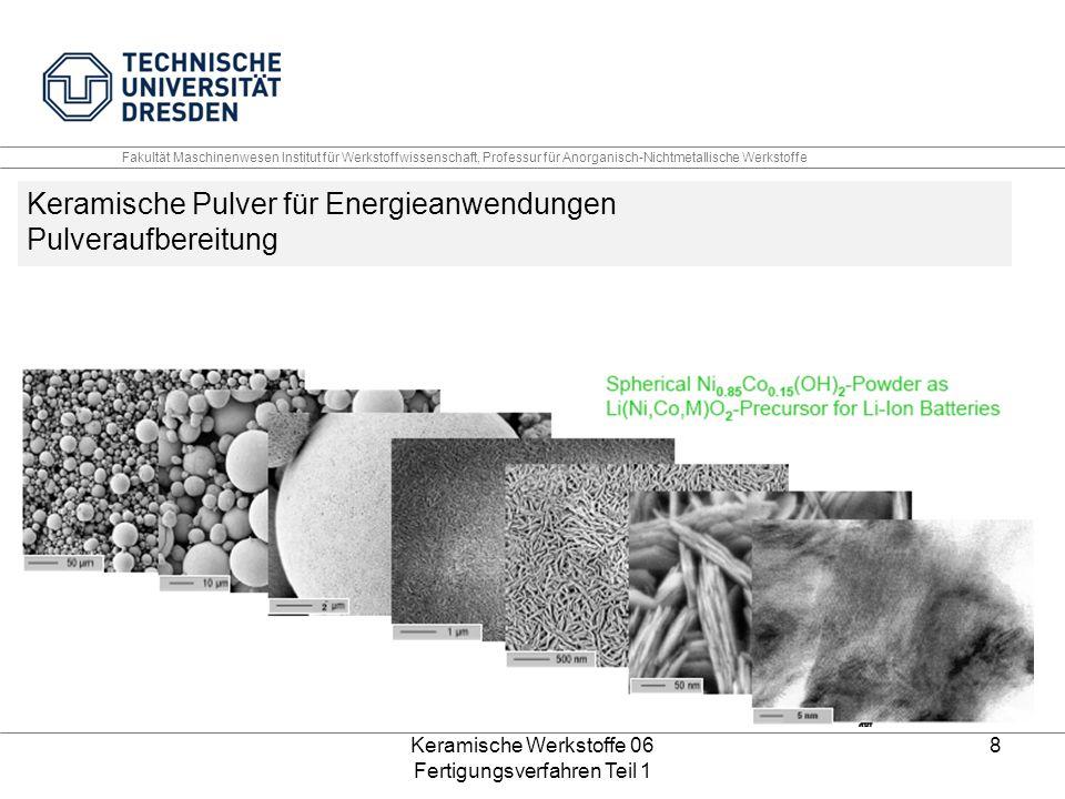Keramische Werkstoffe 06 Fertigungsverfahren Teil 1 8 Keramische Pulver für Energieanwendungen Pulveraufbereitung Fakultät Maschinenwesen Institut für