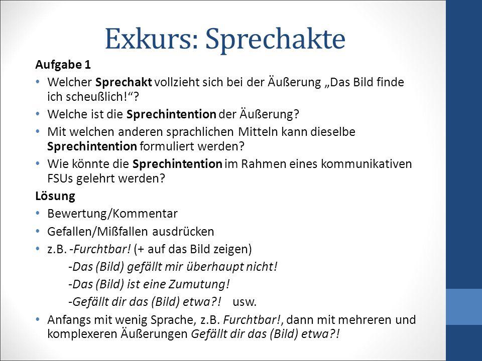 """Exkurs: Sprechakte Aufgabe 1 Welcher Sprechakt vollzieht sich bei der Äußerung """"Das Bild finde ich scheußlich! ."""
