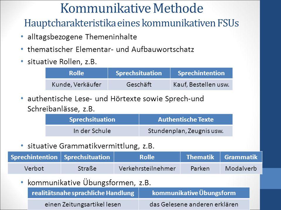 Kommunikative Methode Hauptcharakteristika eines kommunikativen FSUs alltagsbezogene Themeninhalte thematischer Elementar- und Aufbauwortschatz situative Rollen, z.B.