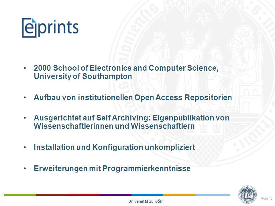 Opus 2000 School of Electronics and Computer Science, University of Southampton Aufbau von institutionellen Open Access Repositorien Ausgerichtet auf