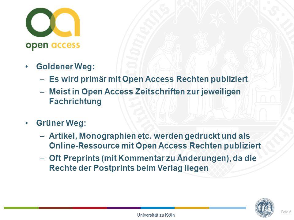 Goldener Weg: –Es wird primär mit Open Access Rechten publiziert –Meist in Open Access Zeitschriften zur jeweiligen Fachrichtung Grüner Weg: –Artikel,