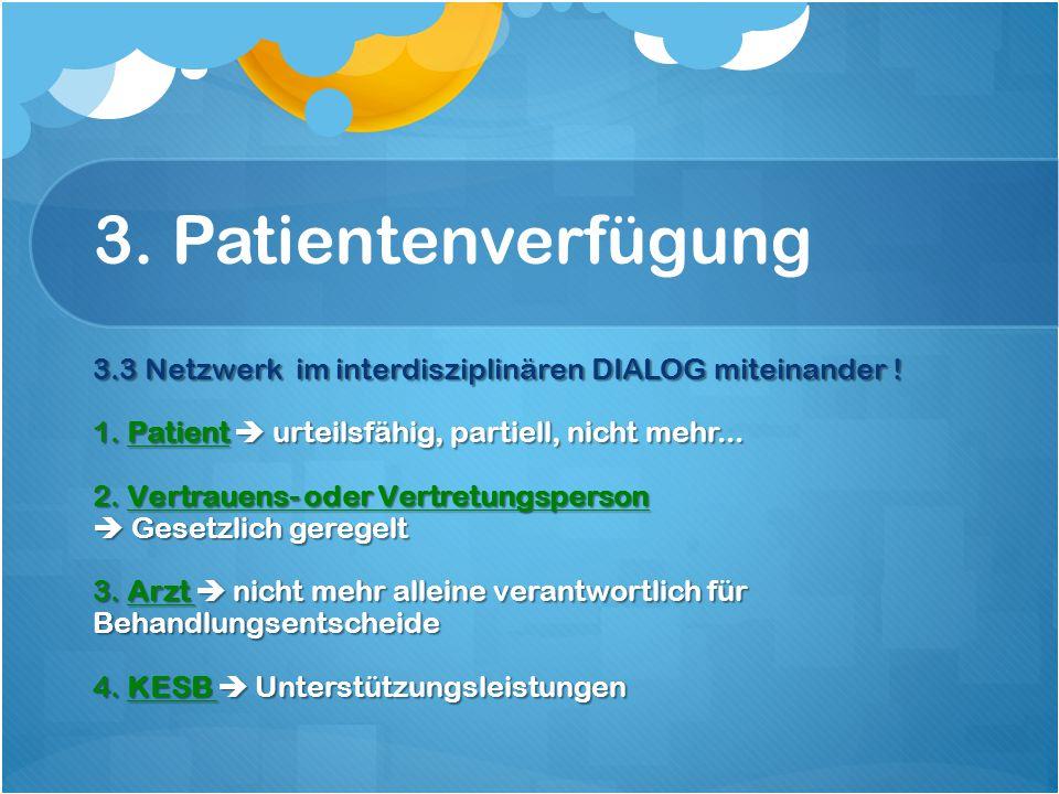 3. Patientenverfügung 3.3 Netzwerk im interdisziplinären DIALOG miteinander .