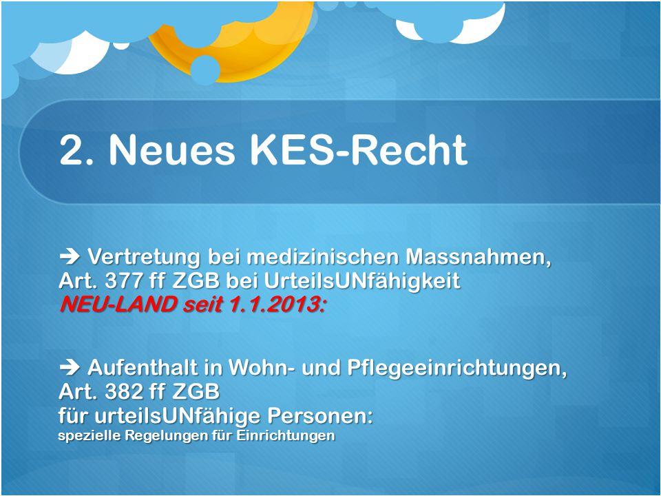 2. Neues KES-Recht  Vertretung bei medizinischen Massnahmen, Art.