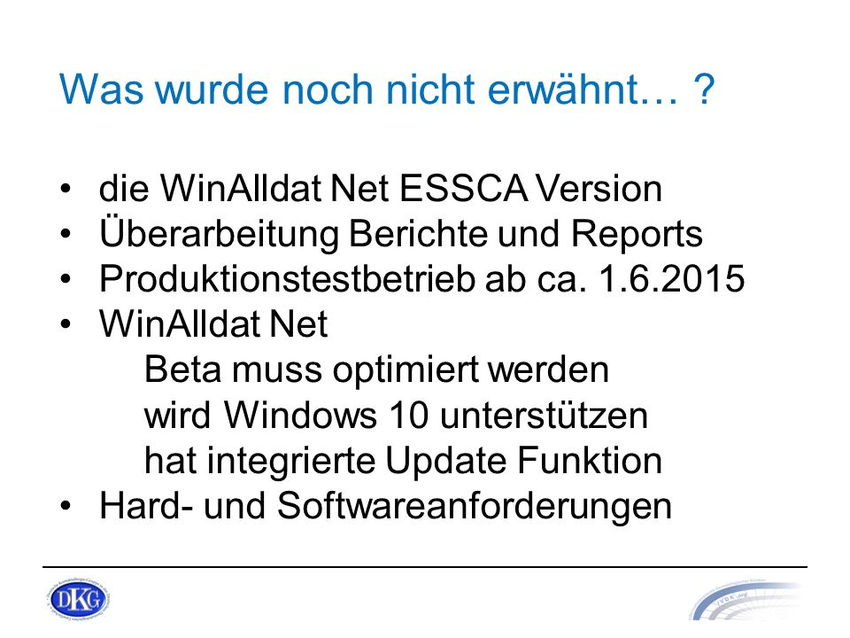 Hardwarevoraussetzungen: Handelsübliche Computersysteme mit 2 GB RAM Betriebssysteme mit.NET Framework 2.0 - Runtime: Microsoft® Windows XP (separate Installation) Microsoft® Windows Vista Microsoft® Windows 7 Microsoft® Windows 8/8.1 Microsoft® Windows 10 Office-Pakete von Microsoft für Reporting zweckmässig: Microsoft® Office Prof 2003, 2007, 2010, 2013, Office 365 Hard/Software Anforderung WinAlldat Net