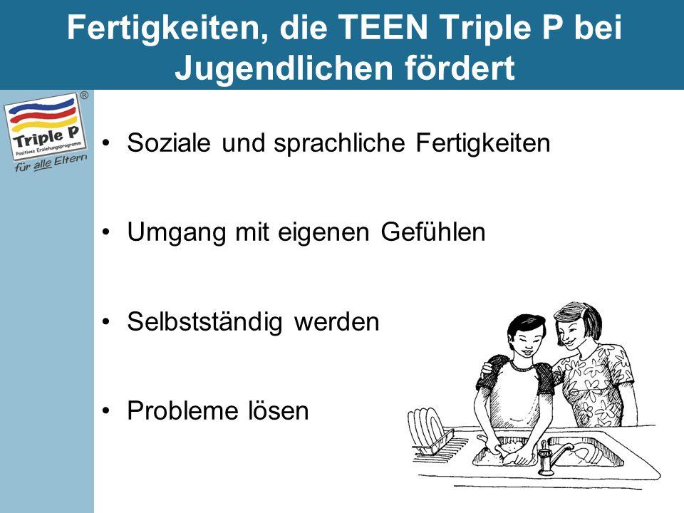 Fertigkeiten, die TEEN Triple P bei Jugendlichen fördert Soziale und sprachliche Fertigkeiten Umgang mit eigenen Gefühlen Selbstständig werden Problem