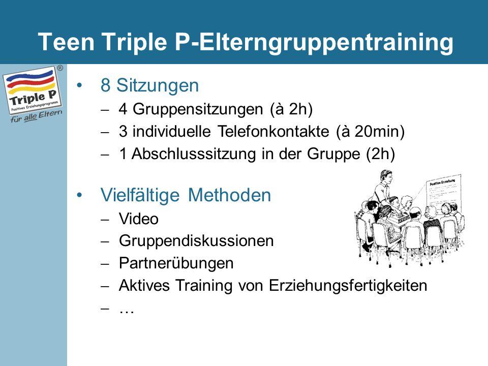 Teen Triple P-Elterngruppentraining 8 Sitzungen  4 Gruppensitzungen (à 2h)  3 individuelle Telefonkontakte (à 20min)  1 Abschlusssitzung in der Gru