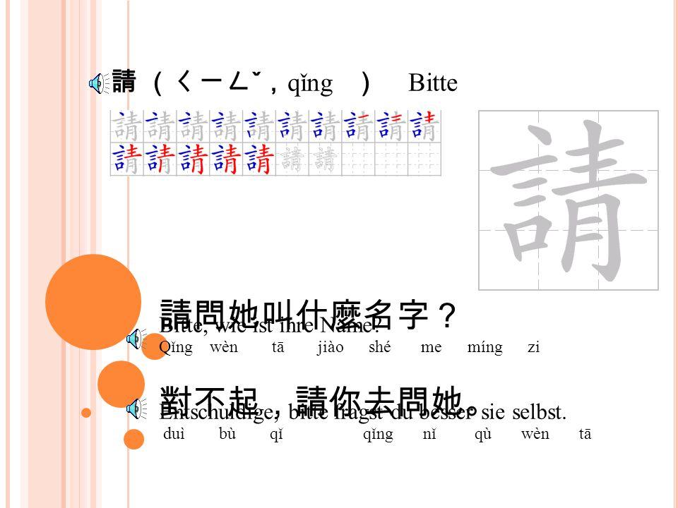 字(ㄗˋ ; zì ) Schrift, Wort 你叫什麼名字 ? nǐ jiào shé me míng zi 他的名字是王小貴。 tā de míng zi shì wáng xiăo guì wie ist deine Name.