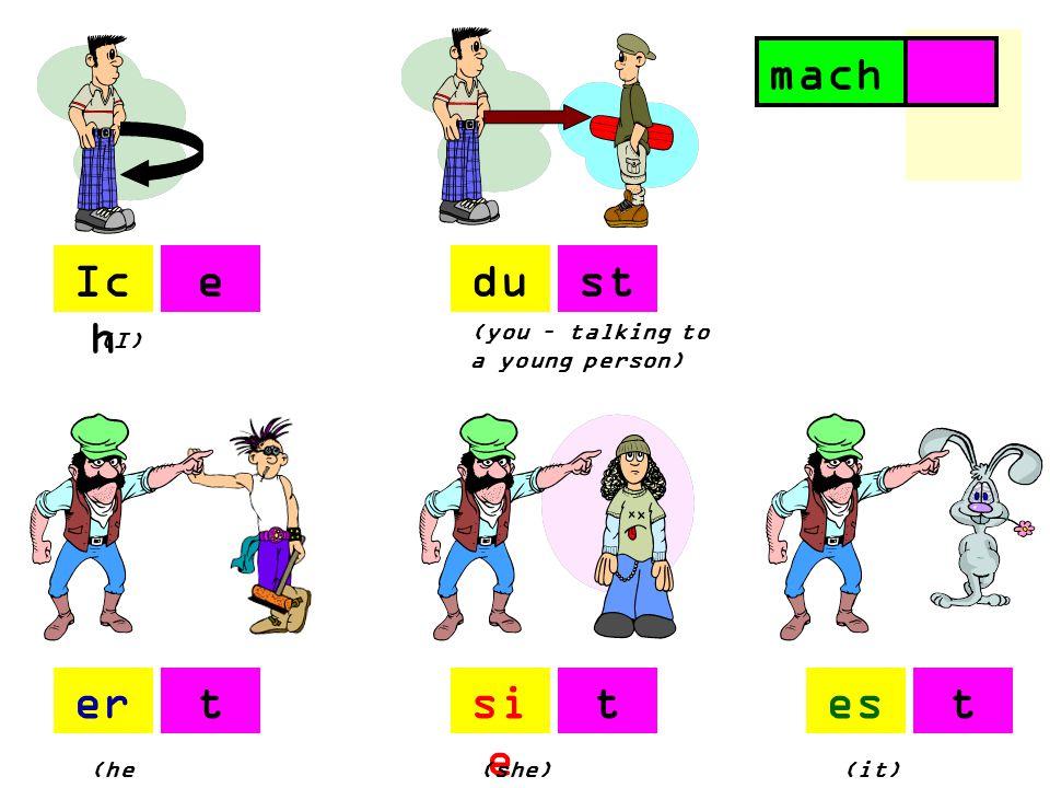 Ic h du ersi e es (I) (you – talking to a young person) (he ) (she)(it) est ttt machen