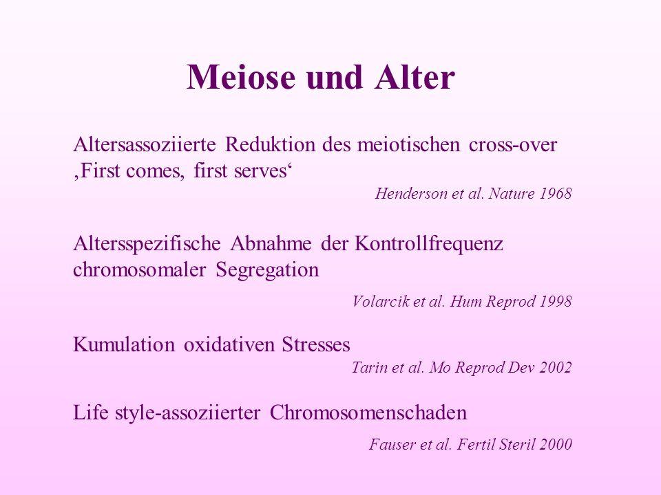 Altersassoziierte Reduktion des meiotischen cross-over 'First comes, first serves' Henderson et al. Nature 1968 Altersspezifische Abnahme der Kontroll