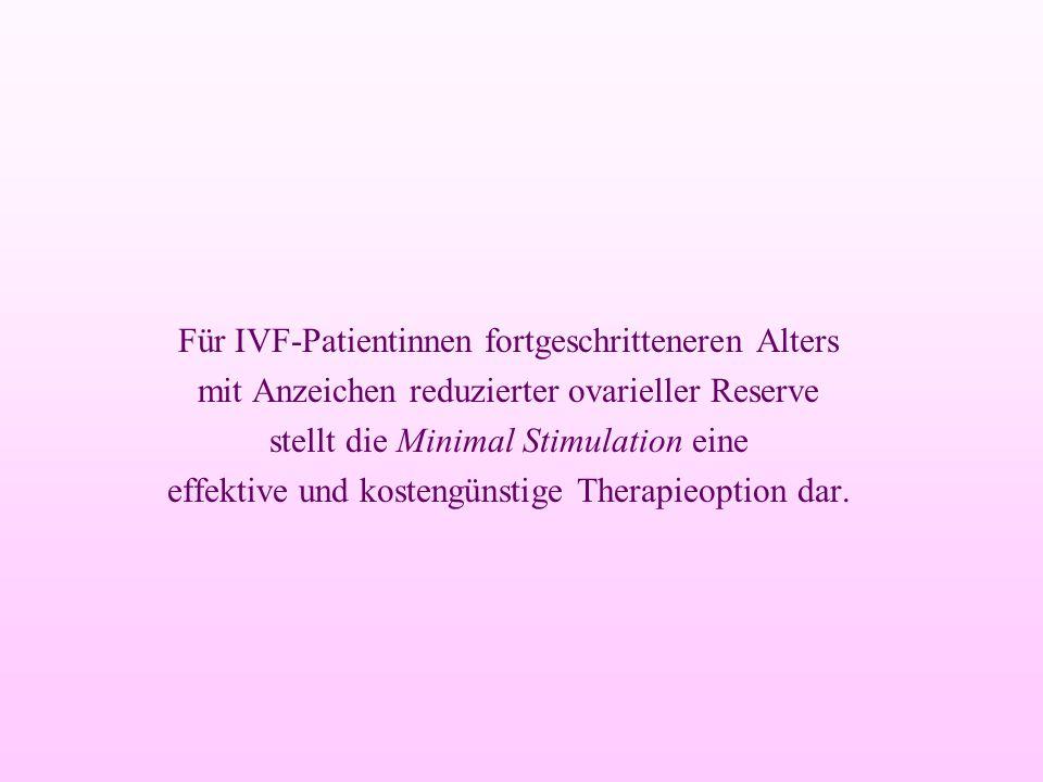 Für IVF-Patientinnen fortgeschritteneren Alters mit Anzeichen reduzierter ovarieller Reserve stellt die Minimal Stimulation eine effektive und kosteng