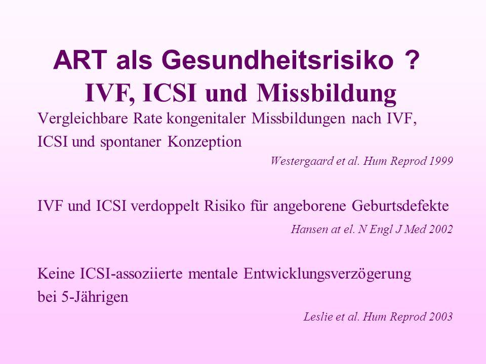Vergleichbare Rate kongenitaler Missbildungen nach IVF, ICSI und spontaner Konzeption Westergaard et al. Hum Reprod 1999 IVF und ICSI verdoppelt Risik