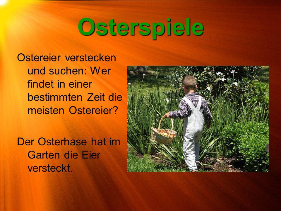 Osterspiele Ostereier verstecken und suchen: Wer findet in einer bestimmten Zeit die meisten Ostereier? Der Osterhase hat im Garten die Eier versteckt