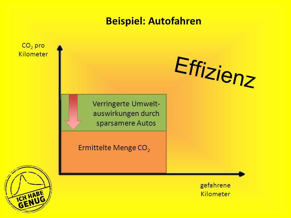 Beispiel: Autofahren gefahrene Kilometer Ermittelte Menge CO 2 Verringerte Umwelt- auswirkungen durch sparsamere Autos CO 2 pro Kilometer Effizienz