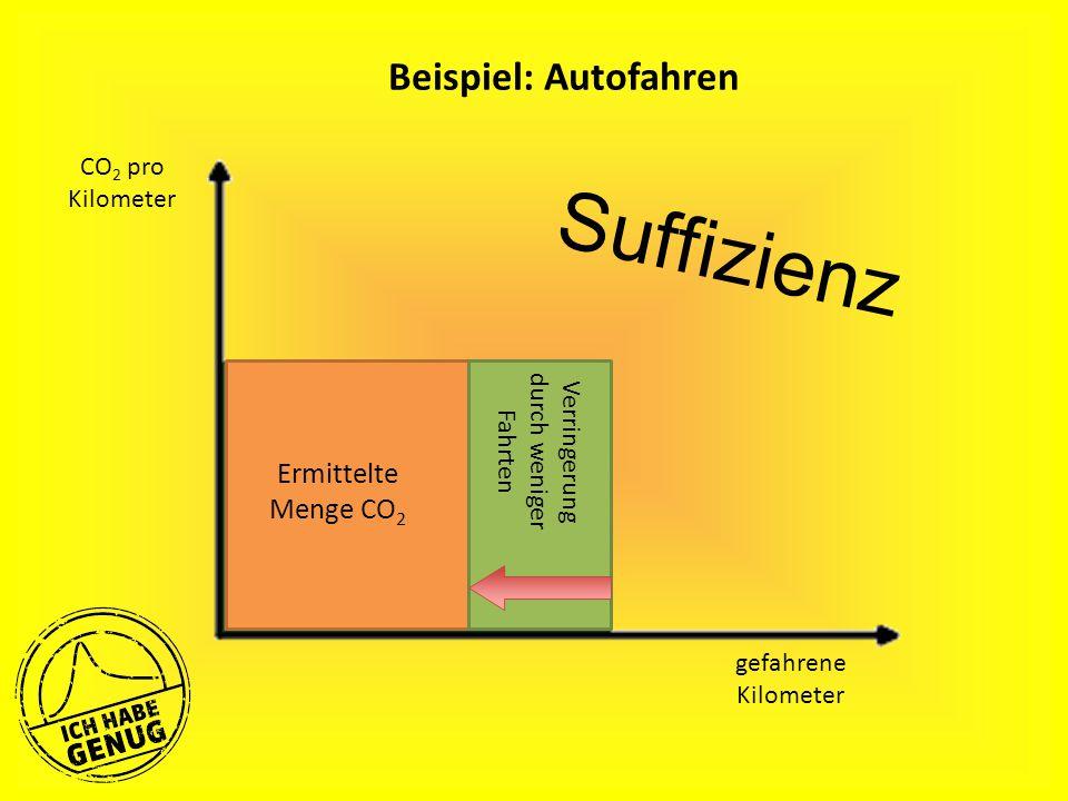 Beispiel: Autofahren gefahrene Kilometer Ermittelte Menge CO 2 Verringerung durch weniger Fahrten CO 2 pro Kilometer Suffizienz