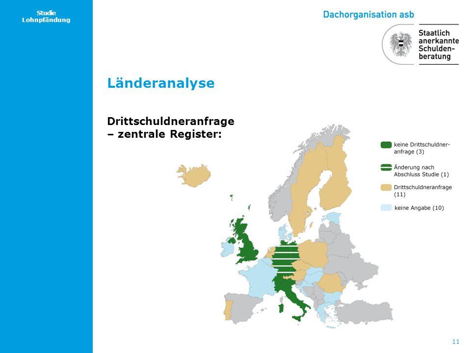 11 Studie Lohnpfändung Länderanalyse Drittschuldneranfrage – zentrale Register: